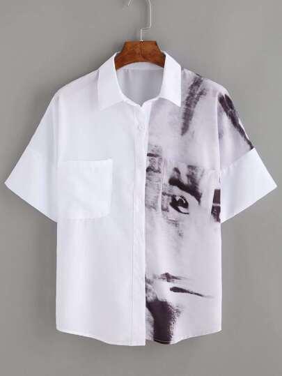 White Tie Dye Patch Pockets Shirt