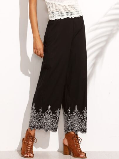 Black Embroidery Zipper Straight Pants