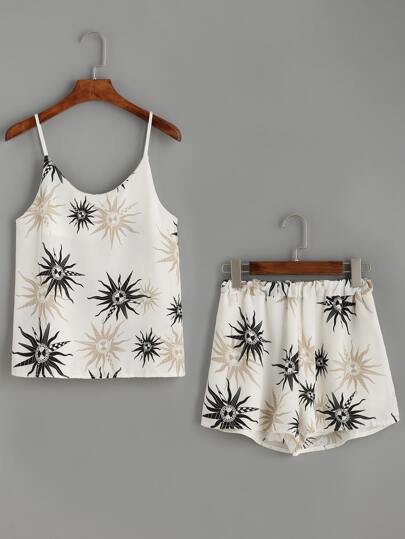 White Sun Print Cami Top With Shorts