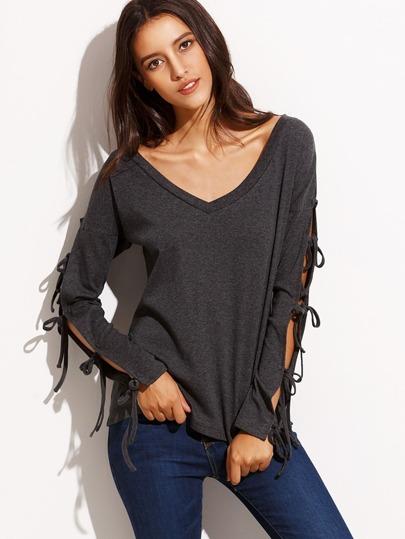 Camiseta escote V manga larga - gris oscuro