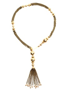 Gold Metal Tassel Long Chain Necklace