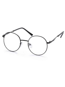 Black Metal Frame Round Glasses