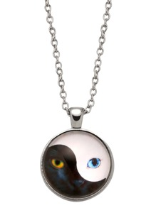 Silver Yin Yang Print Glass Pendant Necklace