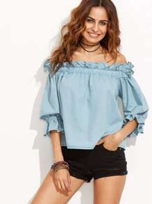 Light Blue Off The Shoulder Ruffle Half Sleeve Blouse