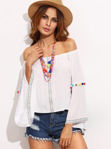 White Embroidered Tape Detail Off The Shoulder Top