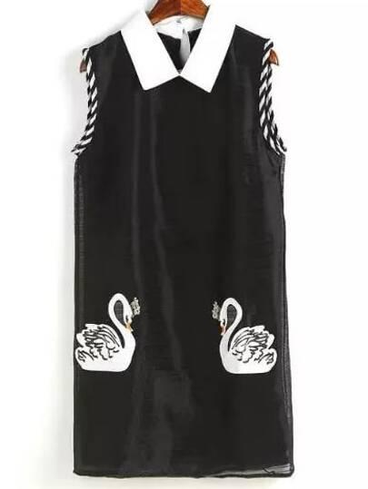 Black Peter Pan Collar Swan Printed Dress