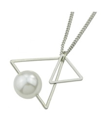 Silver Triangle Shape Pearl Necklace