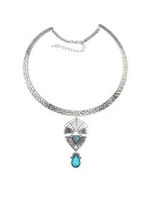 Lightblue Rhinestone Choker Necklace