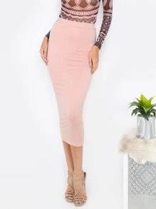 Basis Bodycon Midirock in rosa