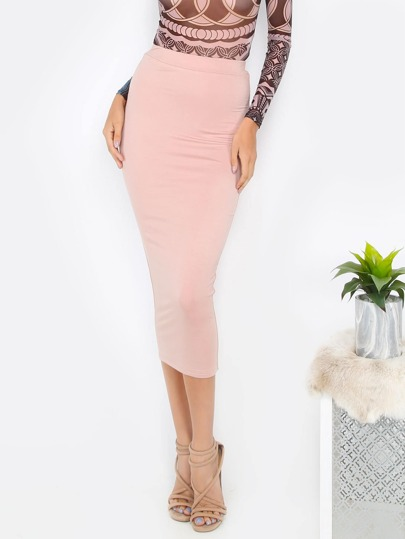 Pink Basic Bodycon Midi Skirt