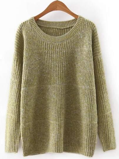 Green Round Neck Plain Knitwear