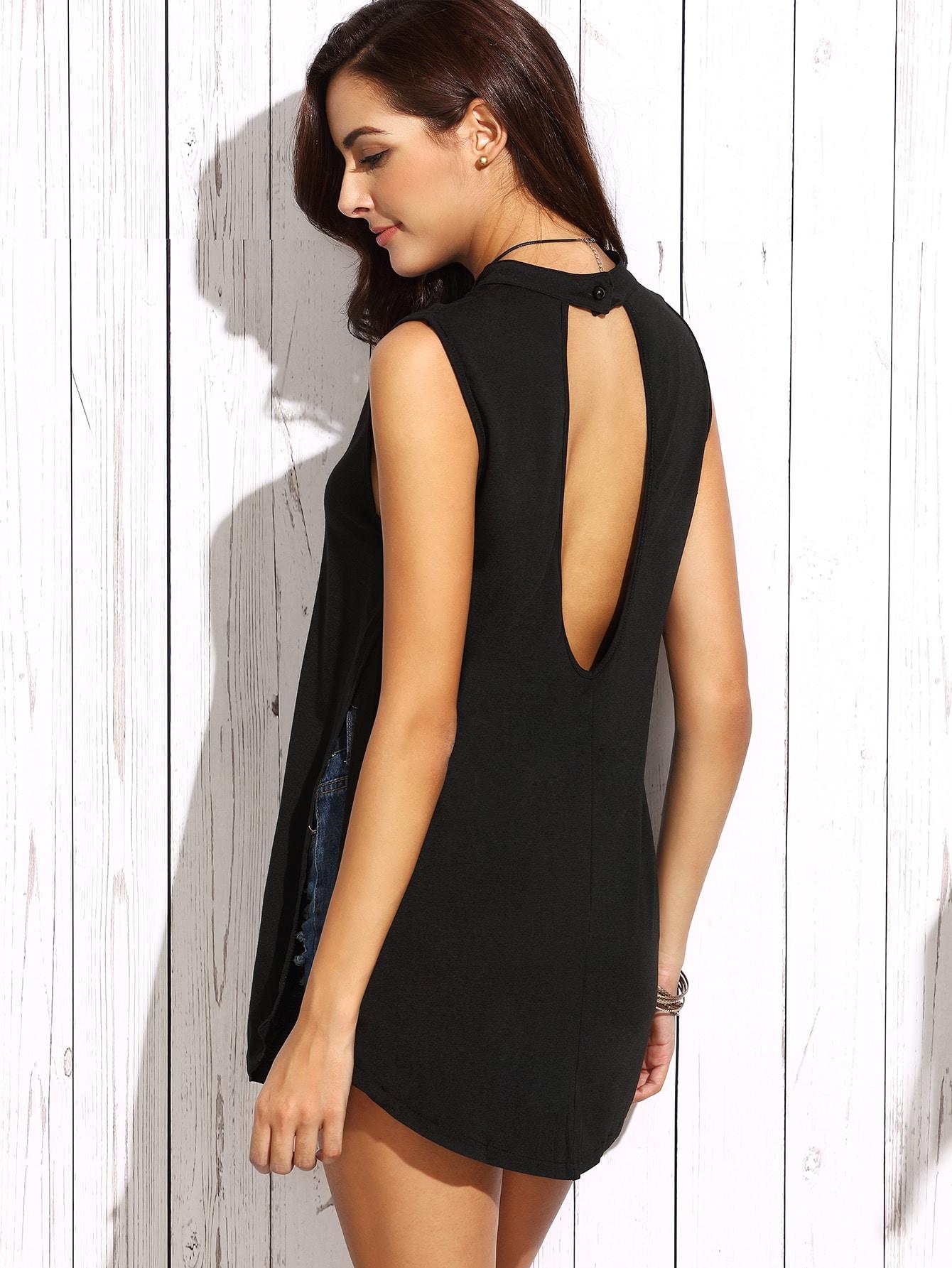 Black Cutout Sides Split Sleeveless Top vest160727301