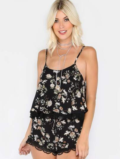 Lace Trim Floral Co-ordinates Set BLACK