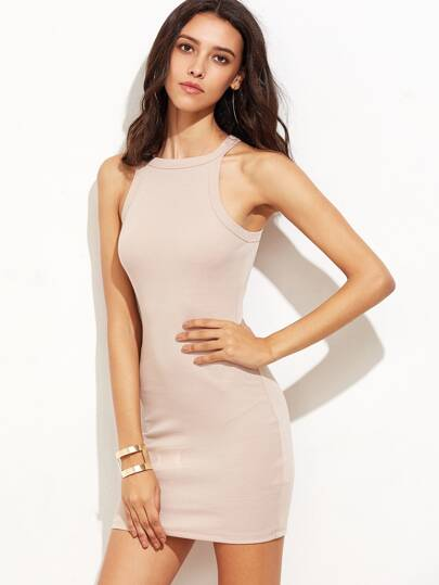 Pink Sleeveless Bodycon Dress