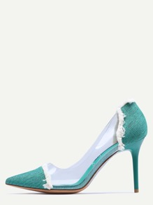 Green Contrast Eyelet Clear Side Pumps