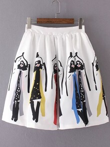White Printed Zipper Pleated Skirt