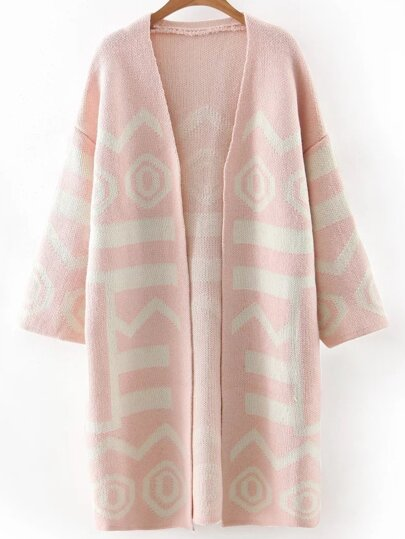Pink Printed Long Cardigan
