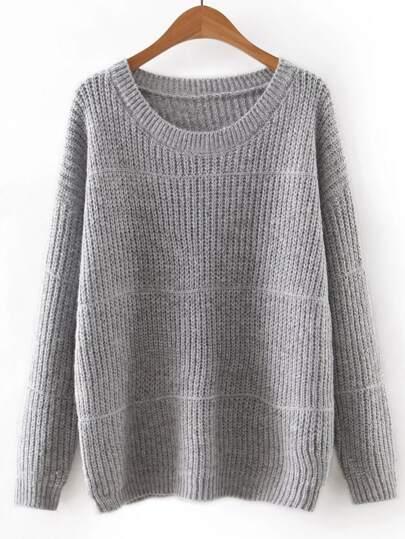 Dark Gery Round Neck Plain Knitwear