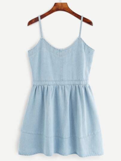 Blue Spaghetti Strap A line Denim Dress