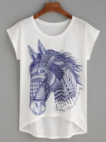 White Horse Print High Low T-shirt