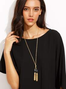 Gold Metal Tassel Natural Stone Long Chain Necklace