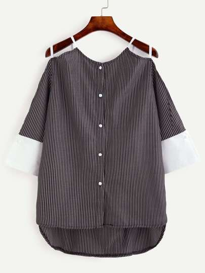 Black Vertical Striped Contrast Cuff Cold Shoulder Blouse