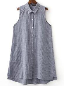 Grey Sleeveless Button Dipped Hem Stripe Blouse