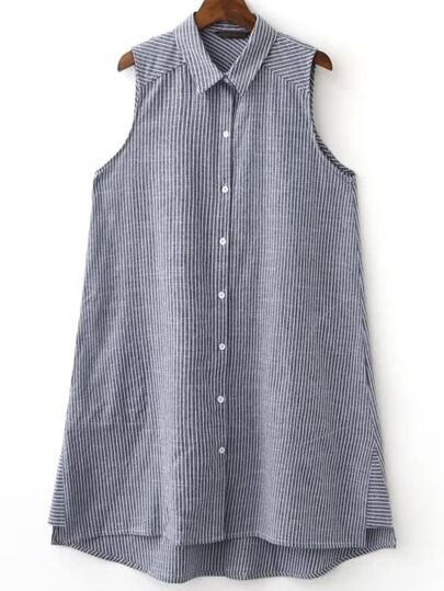 Grey Sleeveless Button Dipped Hem Stripe Blouse