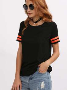 Striped Cuff T-shirt