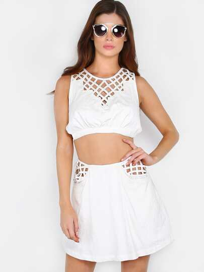 Criss Cross Skort Matching Set WHITE