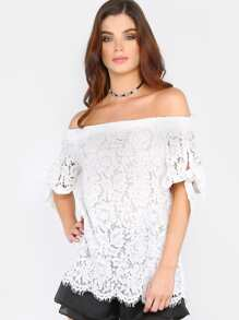Lace Tie Sleeve Bardot Top OFF WHITE