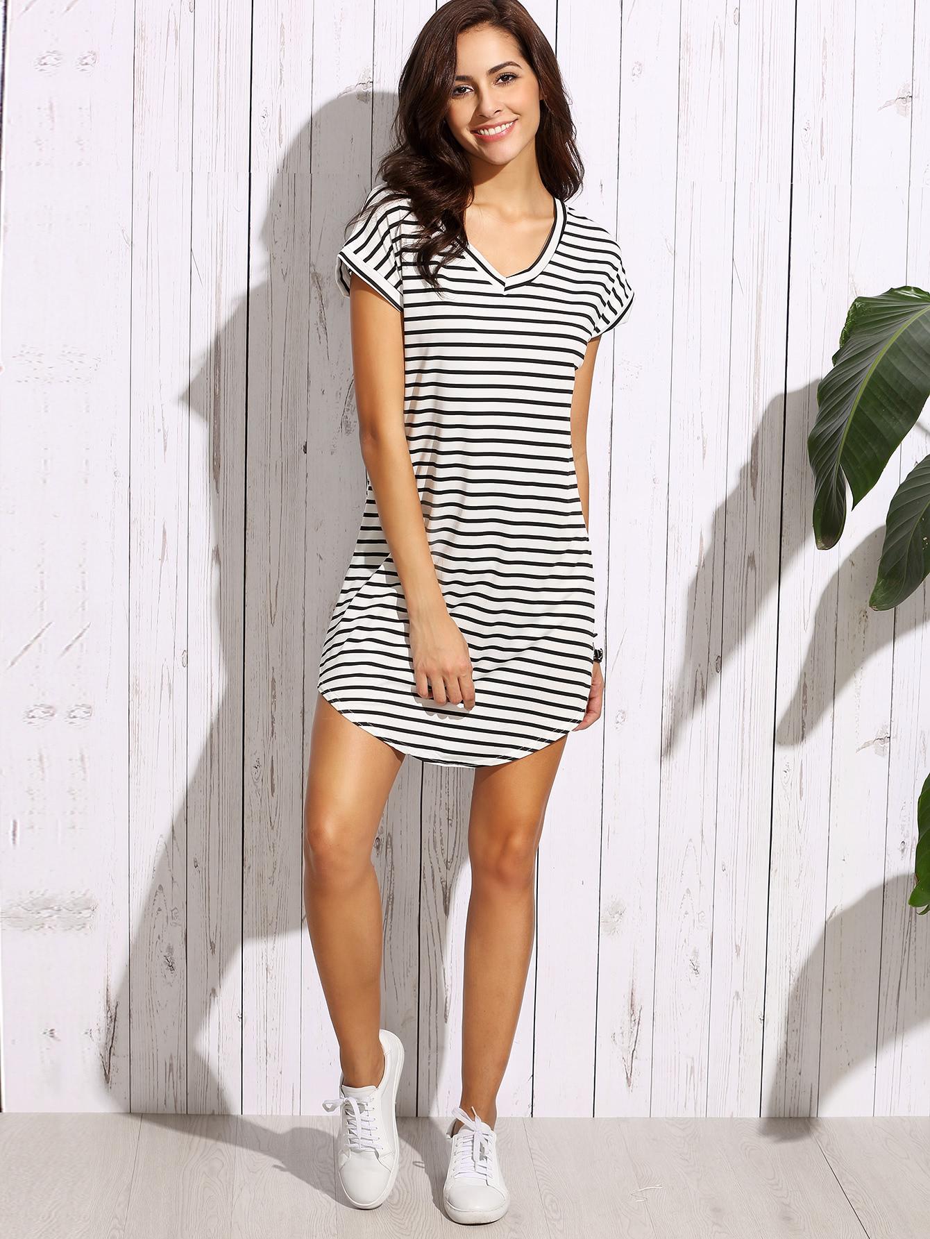 striped curved hem tshirt dress shein sheinside. Black Bedroom Furniture Sets. Home Design Ideas