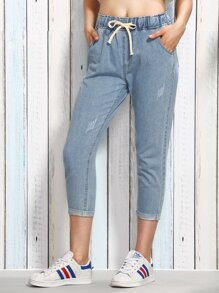 Blue Drawstring Waist 3/4 Length Jeans