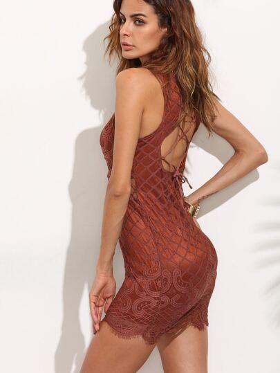 Khaki Sheer Mesh Cut Out Irregular Lace Hem Bodycon Dress