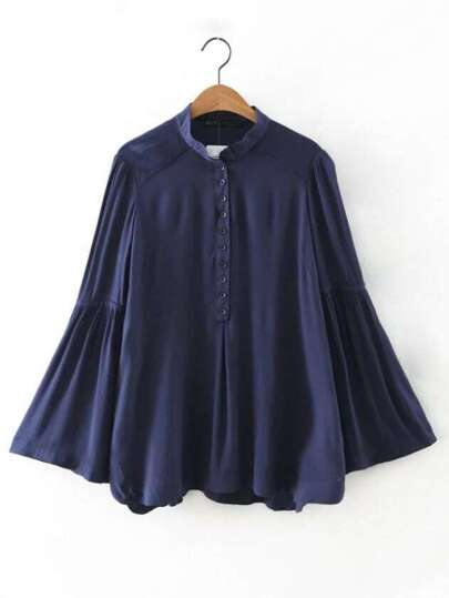 Navy Buttons Front Bell Sleeve Shift Blouse