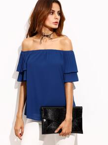 Royal Blue Pleated Sleeve Off The Shoulder Blouse