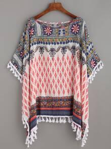 Multicolor Tribal Print Tassel Trim Batwing Blouse