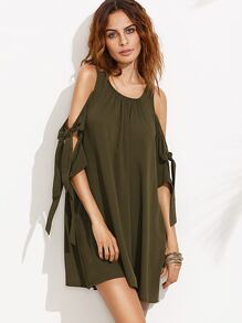 Army Green Tie Sleeve Cold Shoulder Shift Dress