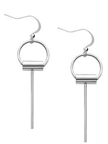 Silver Key Shaped Metal Earrings