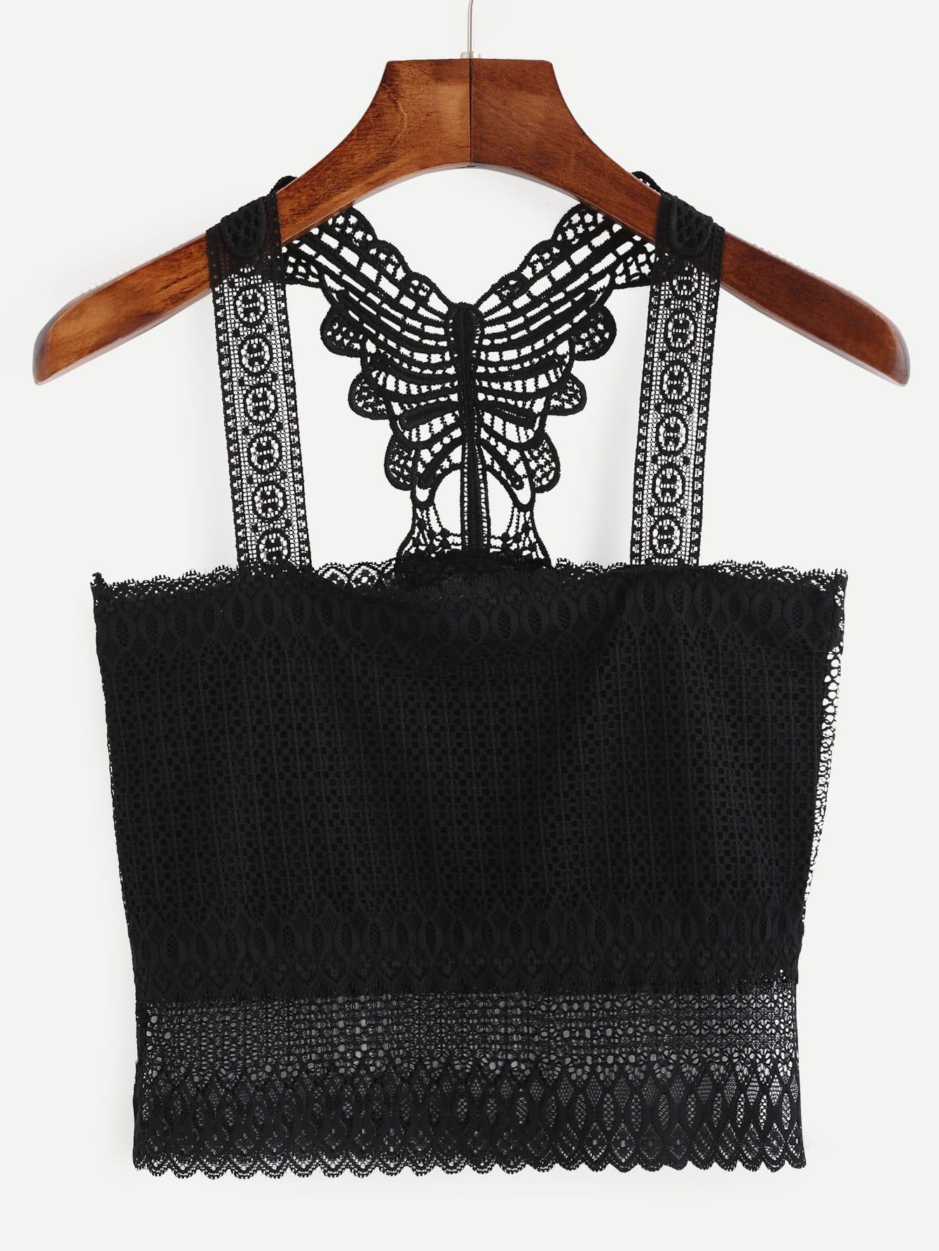Black Crochet Racerback Crop Top vest160720101