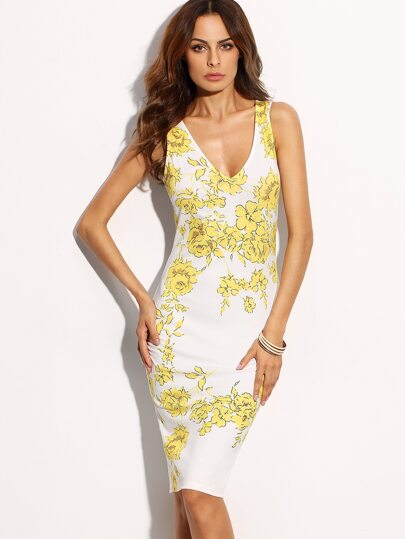 White Sleeveless Floral Print V Neck Sheath Dress