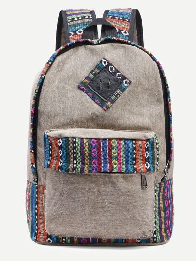 Khaki Striped Embroidered Tape Detail Canvas Backpack