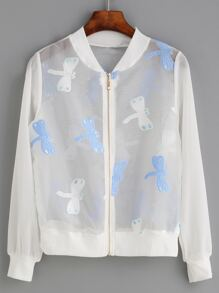 White Dragonfly Embroidered Organza Bomber Jacket