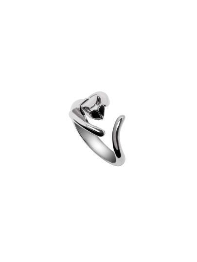 Silver Black Gemstone Eye Cat Open Ring