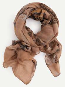 Brown Floral Print Voile Scarf
