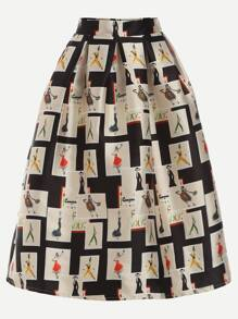 Apricot Graffiti Print Zipper Flare Skirt