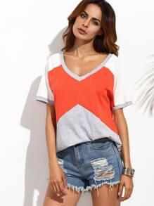 T-shirt bicolore col V manche courte