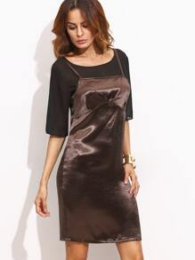 Metallic Brown Cami Dress With Sheer Top