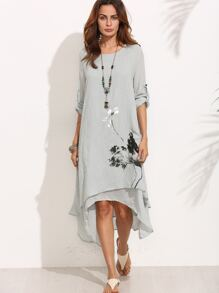 Grey Ink Painting Print Roll Tab Sleeve Layered Asymmetric Dress