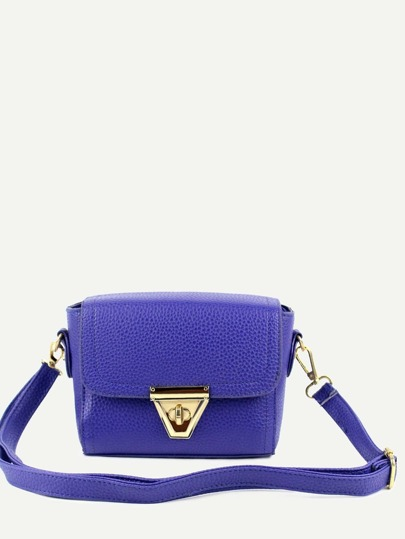 Purple Pebbled Faux Leather Turnlock Flap Bag